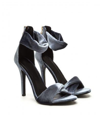 Sandale catifea cu toc stiletto