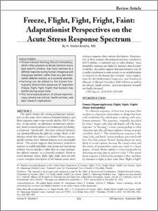 Freeze, Flight, Fight, Fright, Faint: Adaptationist Perspectives on the Acute Stress Response Spectrum - Cogprints