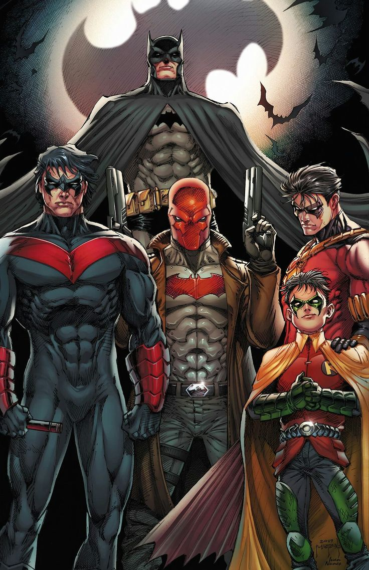 Batman (Bruce Wayne); Nightwing (Dick Grayson); Red Hood (Jason Todd); Red Robin (Tim Drake); Robin (Damian Wayne)