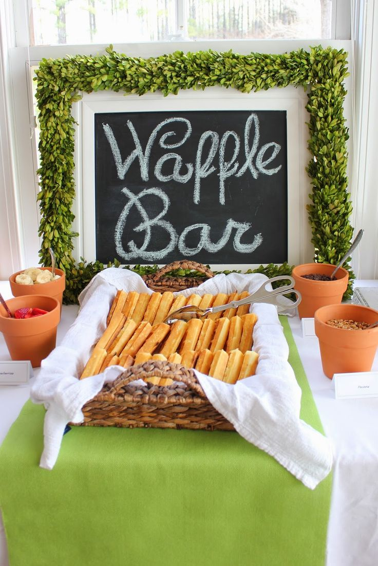 Waffle bar with toppings in terra cotta pots! House of Hydrangeas: Southern Gentleman Baby Shower