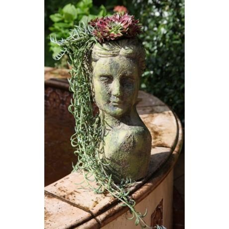 "Mossy Bust 19 1/2"" High Ceramic Planter"
