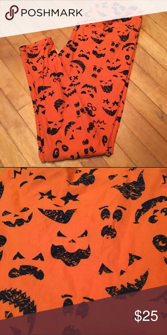 TC Halloween LuLaRoe leggings TC Halloween jack o lantern faces on orange leggings from LuLaRoe. Worn once and washed per LLR standards. No pilling. LuLaRoe Pants Leggings