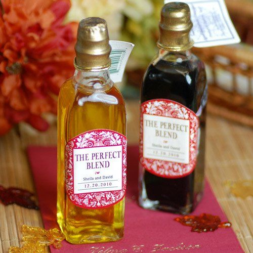 Mini Oil and Vinegar Bottles with Personalized Labels--I could do these at Stuarto's. @Kimberly Morgan