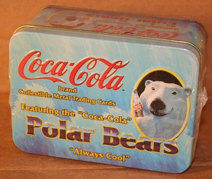 Coca-Cola Collectible Metal Trading Cards, Polar Bears, In TinTrade Cards