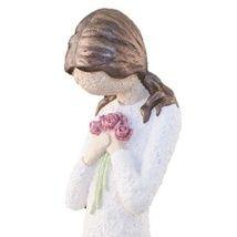 Kjempesøt damefigur med blomsterbukett. Håndmalt og håndlagd i Lillesand. Figuren er 33 cm høy og håndlagd i kaldstøpt keramikk. Figurene finnes i 3 størrelser, skulptert i en litt grov murstruktur. Dette er den mellomstore størrelsen. Figuren finnes også med sølvfarget hår. Se også vår store serie med andre figurer. Pris kr. 419,-