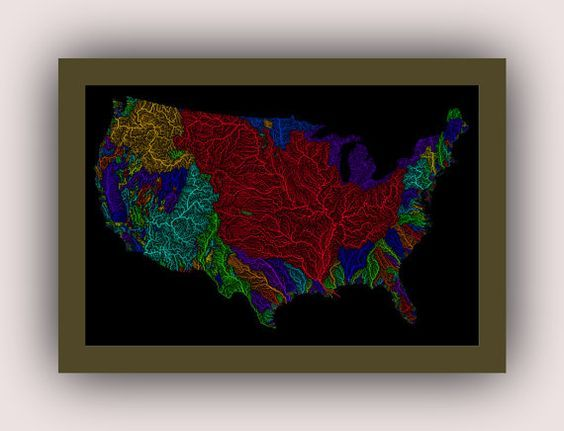 USA rivers colored by catchment areas and weighted by size | poster | high resolution digital map | USA | river | catchment area