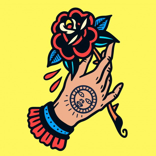 Tätowierte Hand mit Rose Old School Tattoo Vector   – Old school