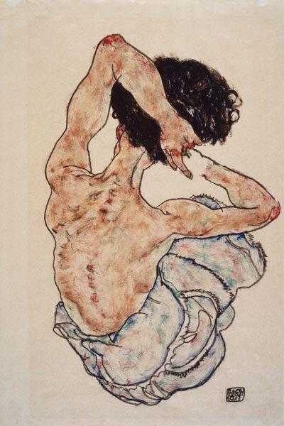 Femme avec les mains croisées, vue de dos.(1917)