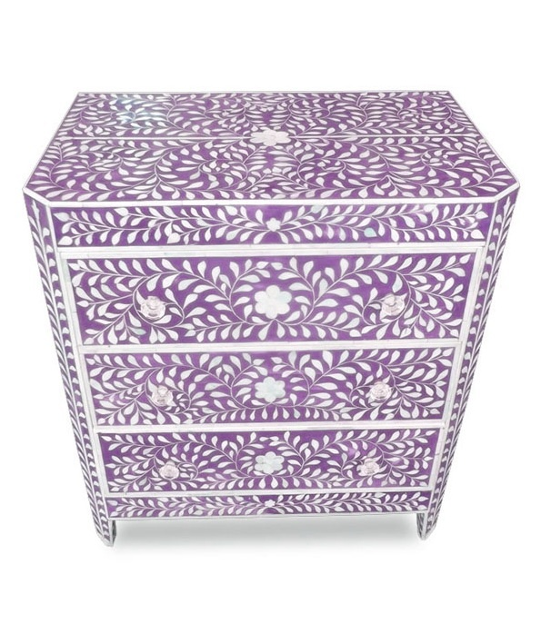 indian artisan purple mother of pearl bone inlay mosaic chest of drawers created for palaces