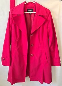 London Fog Ladies Trench Coat Size L Bright Pink Spring Jacket Free Shipping! | eBay