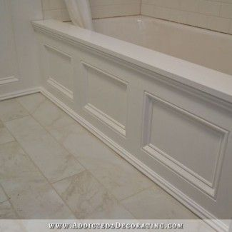 DIY paneled bathtub skirt for a standard apron side soaking tub