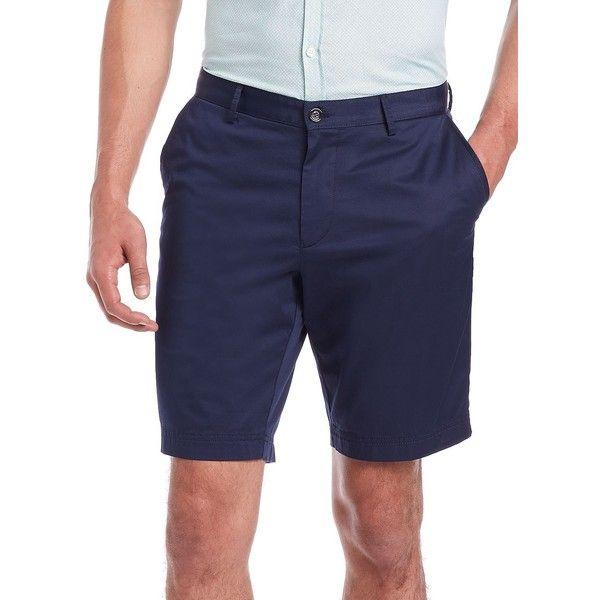 HUGO BOSS Cotton Gabardine Shorts (1,350 EGP) ❤ liked on Polyvore featuring men's fashion, men's clothing, men's shorts, apparel & accessories, navy, mens navy blue shorts, mens cotton shorts and old navy mens shorts
