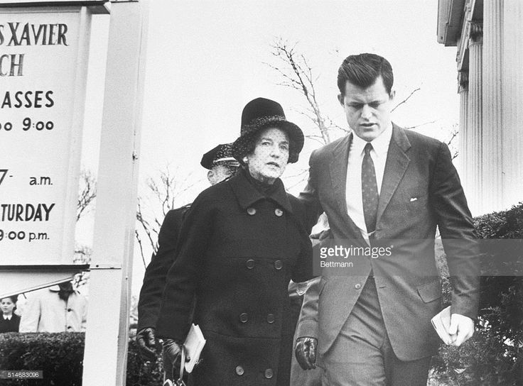 Rose Kennedy walks with her son, Senator Ted from mass.