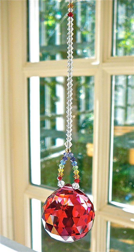 Rode Crystal Sun Catcher 30mm Swarovski kristallen bol