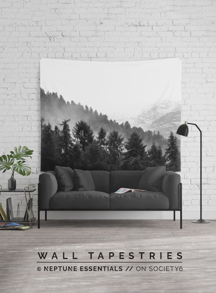 Black And White Forest Wall Tapestry    Available in three distinct sizes, our Wall Tapestries are made of 100% lightweight polyester with hand-sewn finished edges. Featuring vivid colors and crisp lines, these highly unique and versatile tapestries are durable enough for both indoor and outdoor use. Machine washable for outdoor enthusiasts, with cold water on gentle cycle using mild detergent - tumble dry with low heat.