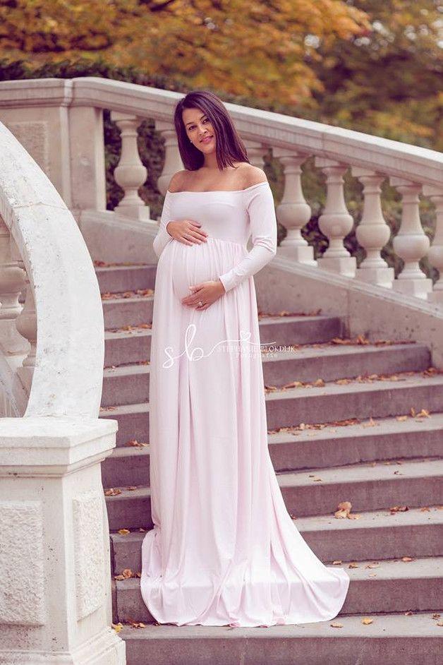 Zwangerschapsjurk - Boronia dress lichtroze off shoulder lange mouwen - Een uniek product van Mii-Estilo op DaWanda