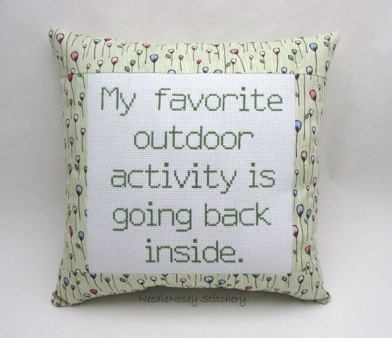 funny crosstitch | Funny Cross Stitch Pillow, Green Pillow, Outdoor Activity Quote
