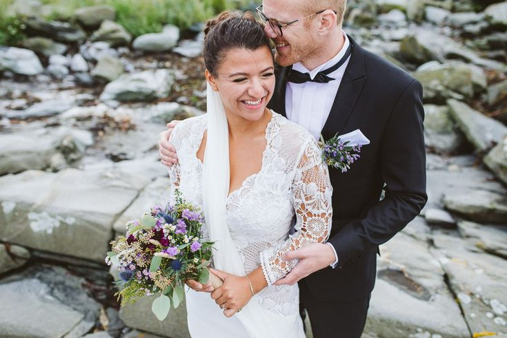 Natural wedding photo with bride and groom. Leila Hafzi wedding dress, lovely natural emotions.