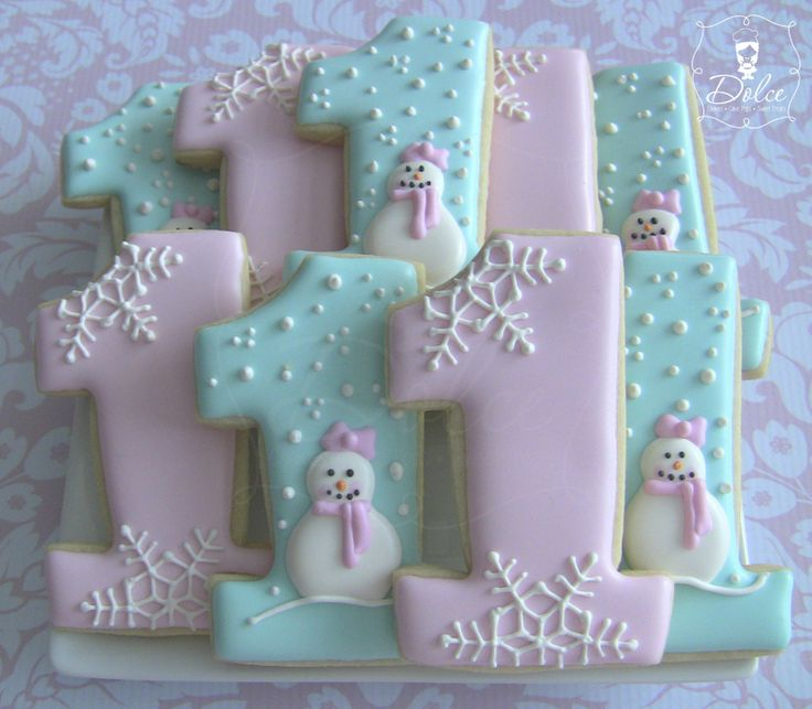 Winter One's First Birthday Decorated Sugar Cookies