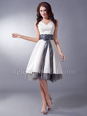 Perfect color is Light Blue with the grey belt and tulle. A-Line V-Neck Knee-Length Satin Taffeta Bridesmaid Dress - US$ 99.99 - Style BD7820 - Helene Bridal