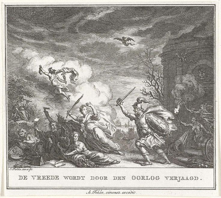 Simon Fokke   Vrede door Oorlog verjaagd, Simon Fokke, 1774 - 1784   De personificatie van de Vrede slaat met haar palmtak op de vlucht wanneer de Oorlog haar, met hulp van duivelse figuren, met schild en zwaard achtervolgt. In de lucht vliegt Mercurius weg.