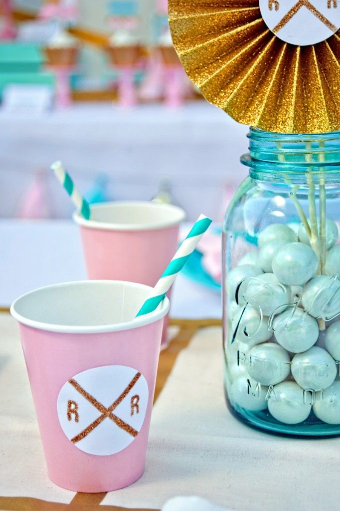 Little girl's birthday party from One Stylish Party featuring lots of gold glitter, pink, and teal!
