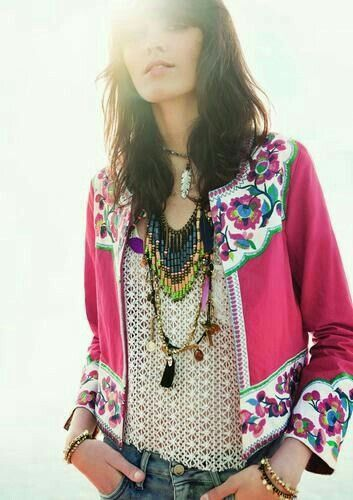 Adorable embroidered pink jacket