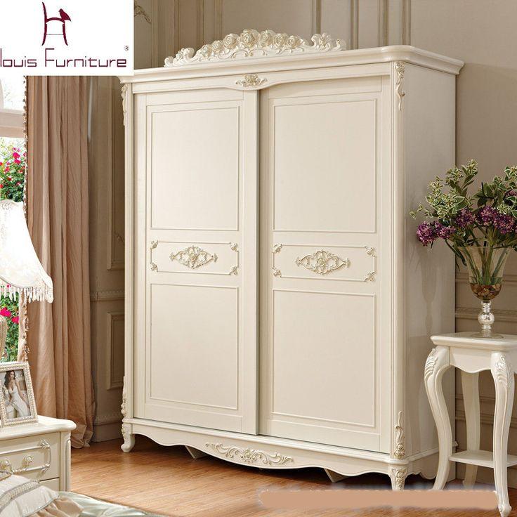 Beautiful Luxury French Style Carved Princess Wardrobe Ivory