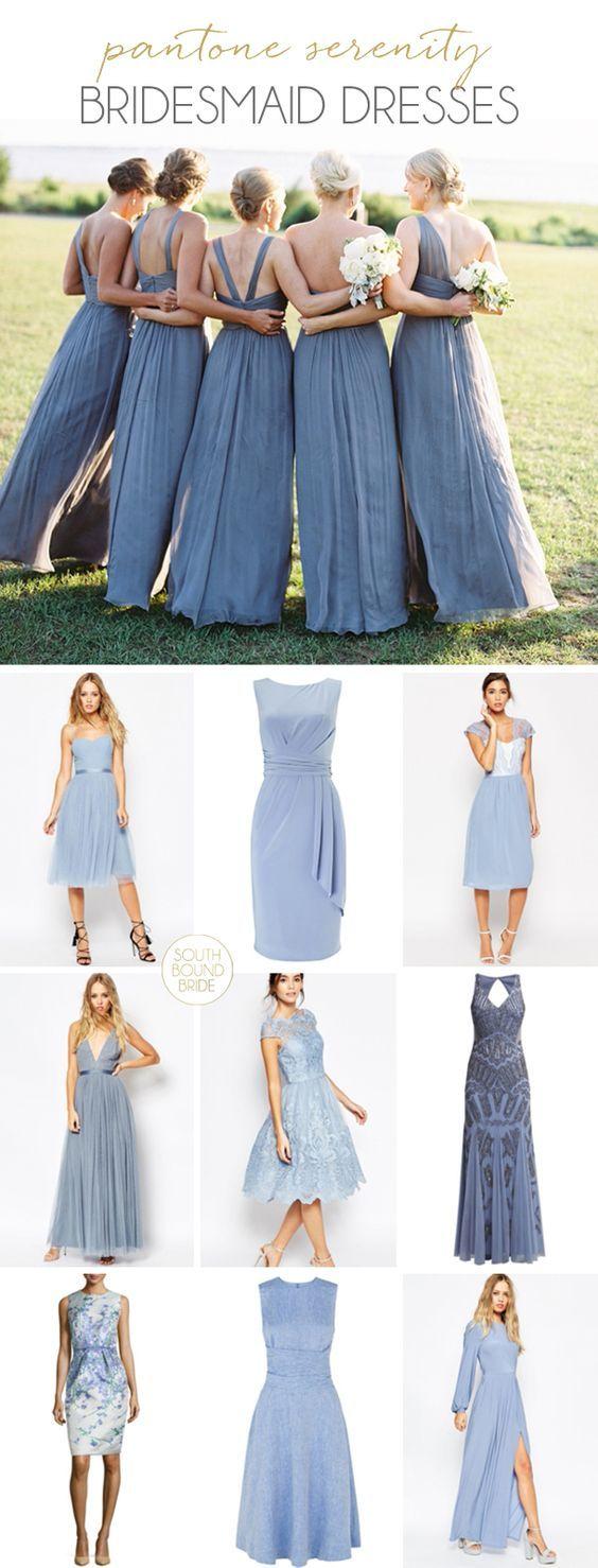 Pantone Serenity bridesmaid dresses | SouthBound Bride | http://www.southboundbride.com/pantone-serenity-bridesmaid-dresses | Top image: Larissa Cleveland/ Coast Side Couture via Sarah Nicole Weddings