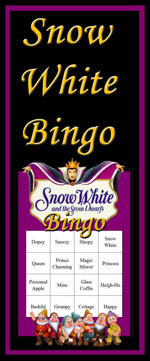 Download a full set of Snow White Bingo cards - 30 cards in all that have been tested to ensure only one winner per game.