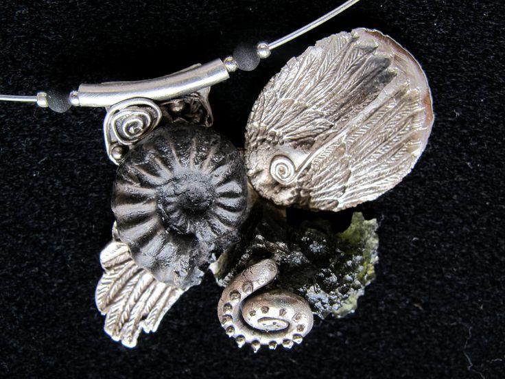 Angel Art Clay Silver, Moldavite, Amonite