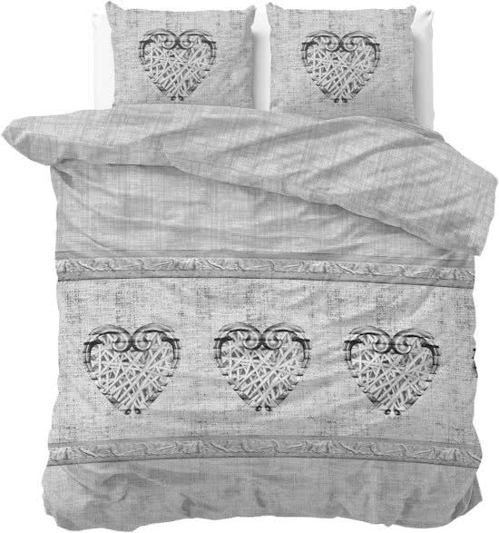 Sleeptime Flanel Hearts Vintage - Dekbedovertrekset - Lits-Jumeaux - 240 x 200/220 + 2 kussenslopen 60x70 - Grijs