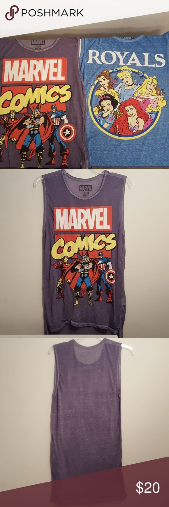 SUPERHEROES AND PRINCESSES EXCELLENT CONDITION! One MARVEL COMICS muscle shirt One DISNEY PRINCESSES muscle shirt  Longlined muscles shirts GREAT FOR THE SUMMER!! Also UNISEX!! Tops Muscle Tees