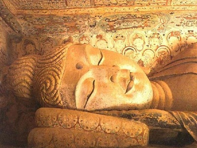 Reclining Buddha in the Dunhuang/Mogao caves