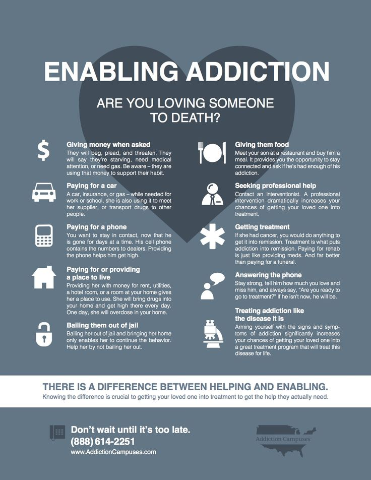 Are you loving someone to death? Addiction Campuses: Enabling Addiction Infographic. Call 888-512-3326