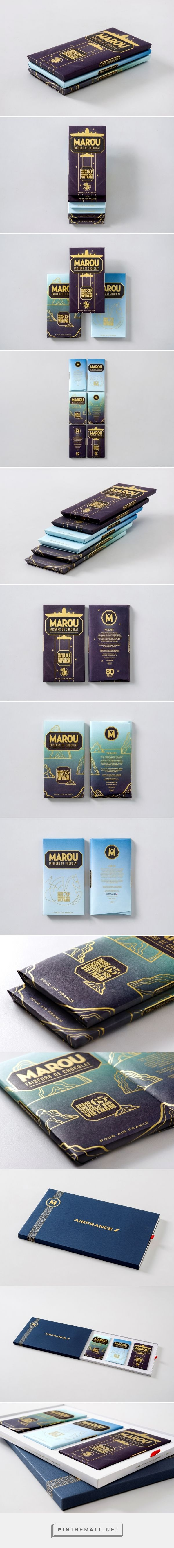 "Marou Chocolate for Air France ""Air France approached Marou Chocolate to commission a specially designed Marou chocolate bar for their annual charity gala. The theme would be celebrating the Paris to Saigon route. A connected 3 bar set which draws inspiration from the extraordinary graphic history of Air France, the wonders of Vietnam, and that silky smooth ride in the sky at 30,000 ft."""