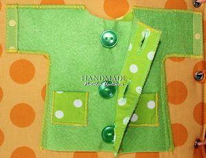 Quiet book- button up jacket, Developmental book 20x20cm / The developing book.