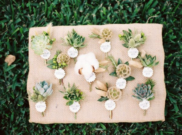 Succulents & Scabiosa Pod Boutonnieres / Photography by ryanrayphoto.com, Floral Design by bowsandarrowsdeluxe.com