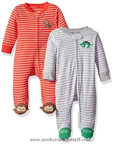 Baby Boy Clothes Carter's Baby Boys' 2-Pack Cotton Sleep and Play, Dino/Monkey, 9 Months