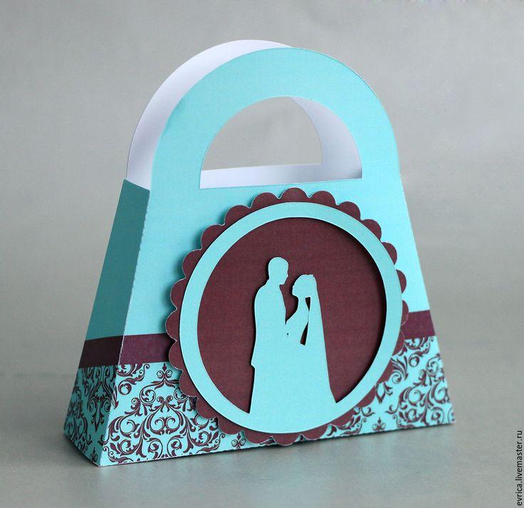 """Купить """"Жених и невеста"""" бонбоньерки - тёмно-бирюзовый, жених, невеста, подарок, упаковка, упаковка для подарка"""
