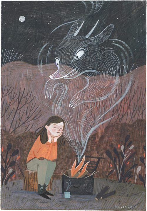 "Rebecca Green Illustration A Sleepless Beast, 6.5x9"" Gouache and Colored Pencil  Now Available at Helikon Gallery!"