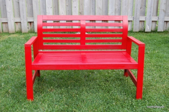 Updated Ikea 196 Pplar 214 Bench With Rustoleum Gloss Apple Red