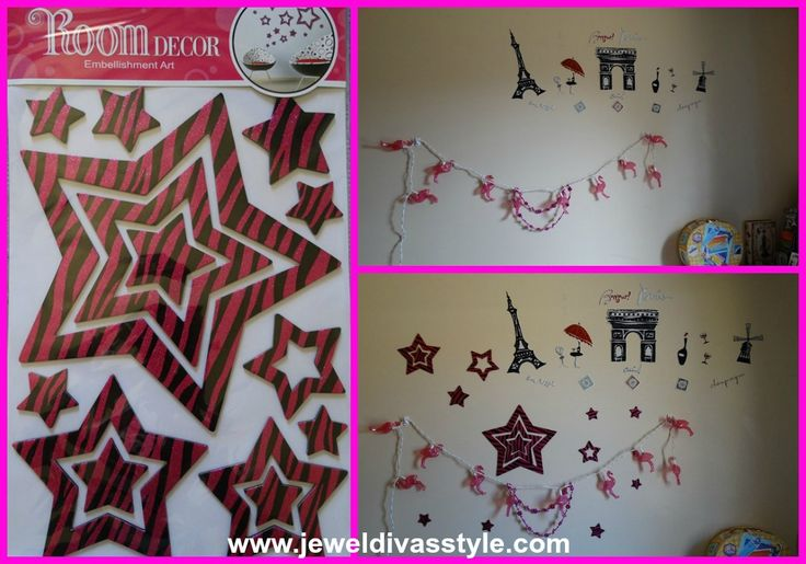 JDS - PINK STARS ARE FALLING wall decals - http://jeweldivasstyle.com/home-decor-style-pink-stars-are-falling/