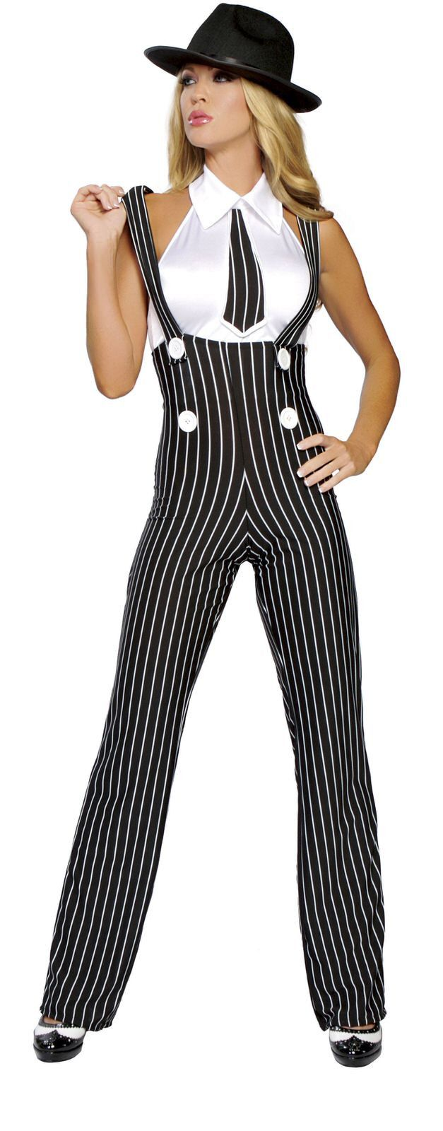 Gangsta Mama Includes High Rise Suspender Pants And Top With Built In Tie.  Shop this now YourLaMode #sexy #gangster #costumes #women #clothing