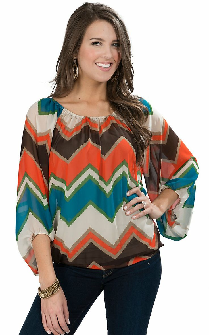 R rouge women 39 s orange brown green turquoise chevron for Women s turquoise long sleeve shirt