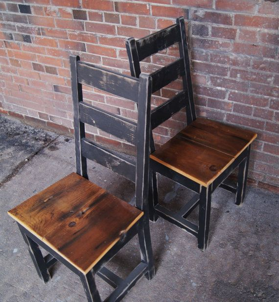 Chair Farm Chair Ladder Back Chair Wooden Chair by FurnitureFarm. Love the pine wood knots and distressed edges