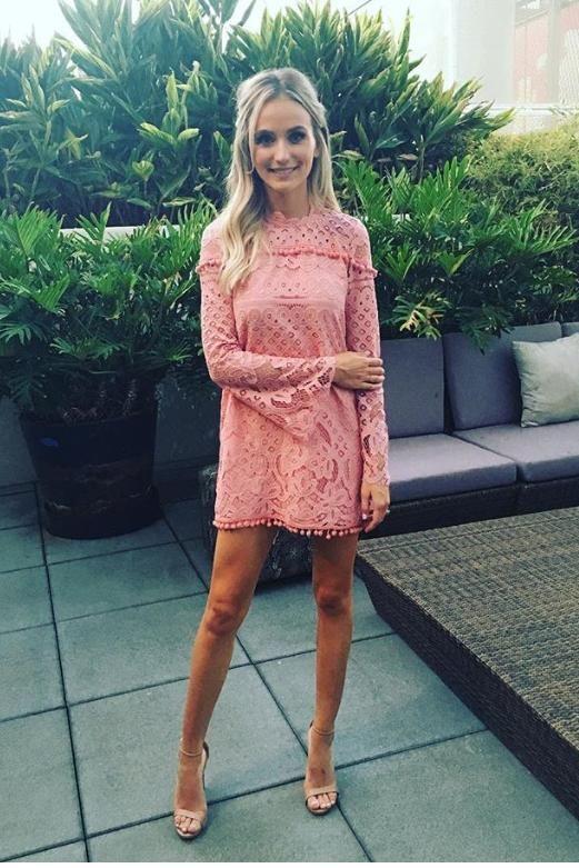 Lauren Bushnell wearing Tularosa x Revolve Matilda Dress and Steve Madden Stecy Sandals
