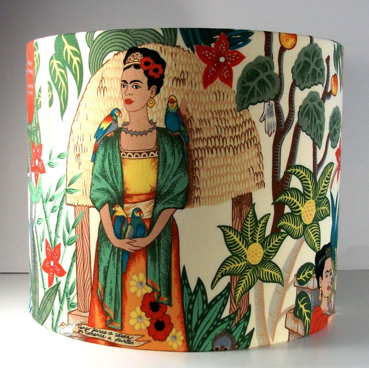 "LARGER Retro Frida's Garden, Frida Kahlo Fabric Handmade Lampshade 12"" x 10"""
