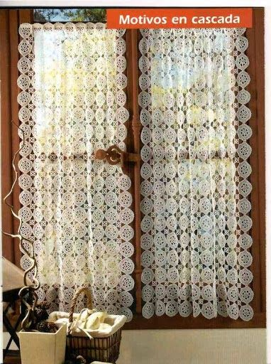 Cascading circles  crochet curtain, filet work ♥LCC-MRS♥ with diagram