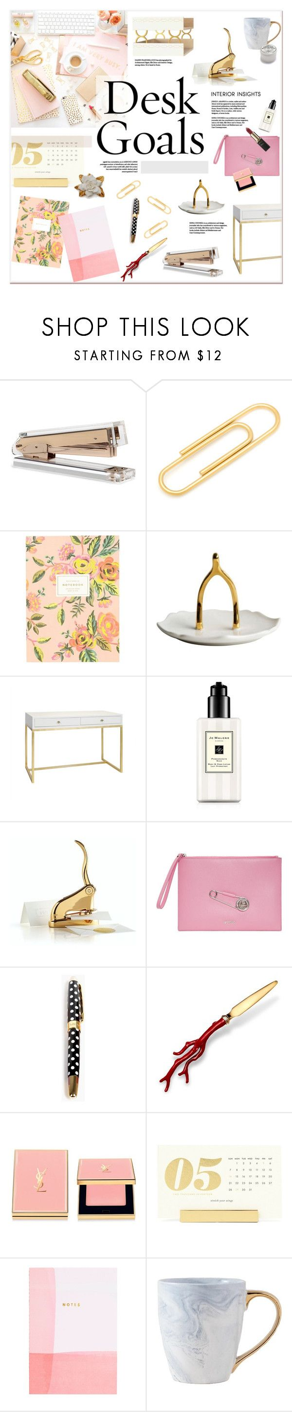 """Desk Goals"" by watereverysunday ❤ liked on Polyvore featuring interior, interiors, interior design, home, home decor, interior decorating, Ox & Bull Trading Co., Rifle Paper Co, Imm Living and Worlds Away"